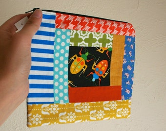 Patchwork Beetle Pouch - Zippered Pouch