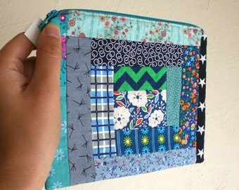All Blue and Green Patchwork Pouch - Zippered Pouch