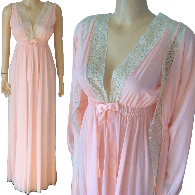 Miss Elaine Nightgown Robe Peignoir Set Med Vintage Pink Nylon