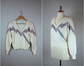 Vintage 80's fitted sweater / Vintage angora and acrylic sweater / fitted xs sweater