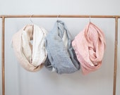 Handmade Double Gauze Cowl or Infinity Scarf  / Tan and Cream, Chambray Denim Blue, Pink Red, mint green / Christmas Gift For Her in stock
