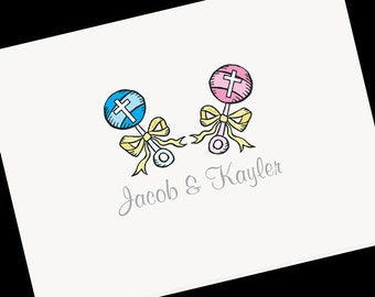 Personalized Christening Note Cards, Thank You Cards, Thank Yous, Personalized Stationery, Christening Thank You Cards