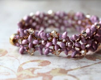Lavender, purple and Mauve Hand beaded Bracelet with Swarovski pearls and Cyrstals Gold plated Magnetic clasp
