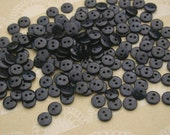 "Little Black Buttons - Bulk Sewing Button - Small Tiny Black Buttons - Two Holes - 3/8"" Wide"