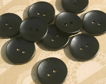 "Black Wood Buttons - Black Wooden Button - Sewing Bulk Buttons - 1 3/16"" Wide"