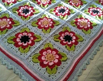 Lap Blanket or Couch Throw_Painted Roses