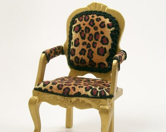 Leopard Print Chair Gold Upholstered Furniture 1:12 Dollhouse Miniature Artisan