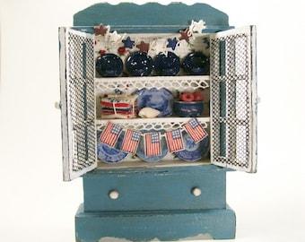 Blue Filled Hutch Cabinet Furniture 1:12 Dollhouse Miniature Scale Artisan