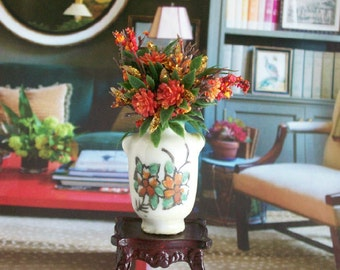 Orange Flower Arrangement Display Vase 1:12 Dollhouse Miniature Scale Artisan