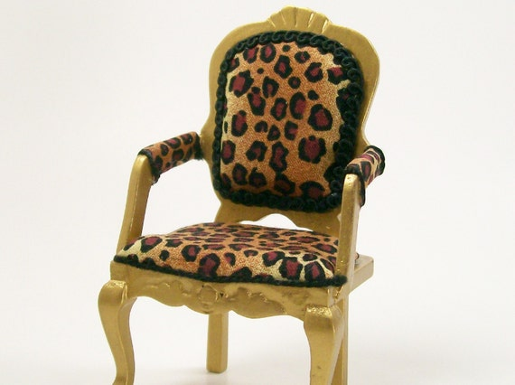 Items Similar To Leopard Print Chair Gold Upholstered Furniture 1 12 Dollhouse Miniature Artisan