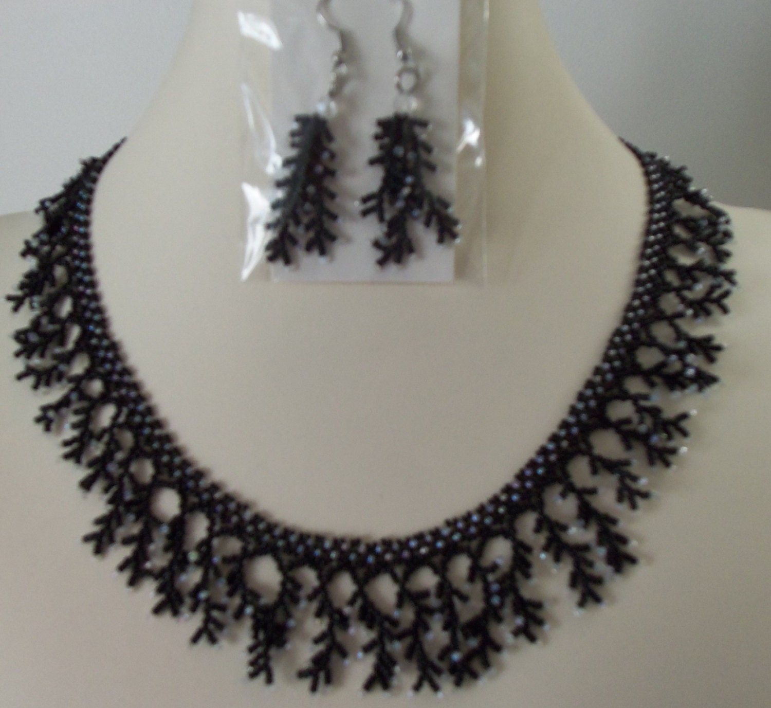 904 bead netted necklace by ducrafts on etsy
