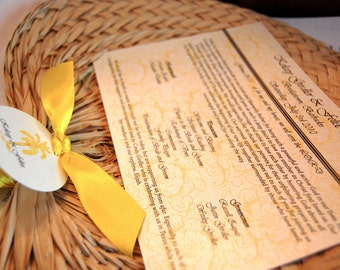 Wedding Program - Raffia fan programs - Palm leaf