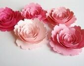 5 Pink ombre large paper roses, rolled paper flowers,wedding decoration,scrapbook decoration,table decoration,rosette,royal,paper rose