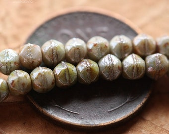 clearance .. DRIED SAGE No. 2 .. 50 Picasso Czech English Cut Beads 3mm (4391-st)