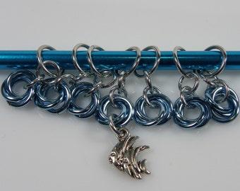 Stitch Markers - Fish Knitting Stitch Markers - Light Blue Stitch Markers - Chainmaille Stitch Markers - Moebius Stitch Marker