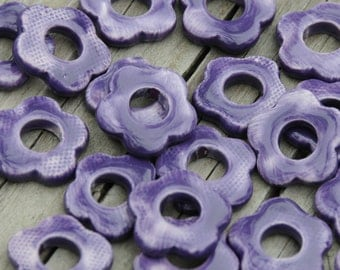 5 Larger Pottery Flower Beads In a Purple