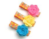 Spring or Summer Felt Flower Child Hair Clips, Easter, Kids Hair Clips, Hair Accessory, Pastel