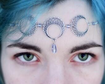 Triple Moon Goddess Faery WICCA Circlet Tiara