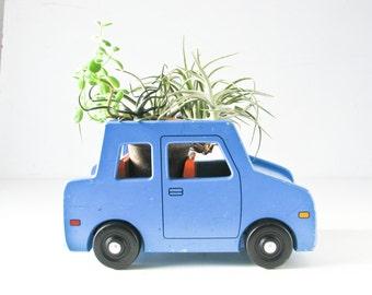 Toy Wood Car, Blue Sedan, Child Push Toy, Plant Display Shelf