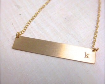 Gold Bar Necklace with simple initial