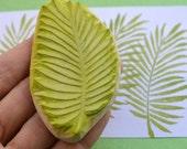 palm leaf hand carved rubber stamp, handmade rubber stamp