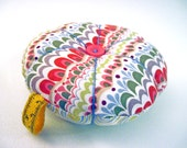 Mod Pincushion in Abstract Fabric. Colorful Pincushion; Fun, Funky, Functional. Tomato Pincushion; Great Quilter, Crafter, Sewing Gift,