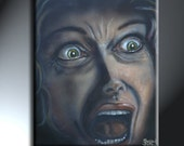 Screaming Woman In Fear Original Artwork 16x20 Fearing The Unknown