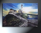 California Lighthouse Painting On Canvas Original Landscape Art Size 24 X 36