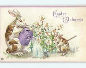 Easter vintage postcard, Easter Postcard, Brown and white spotted Bunny Rabbits, lilies, watering can Holiday vintage