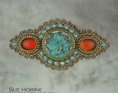 Barrette, bead embroidered, Glass Button, aqua, brown, seed bead