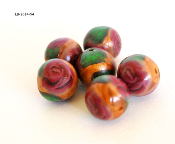 Red Rose Beads, Handmade Beads, Gold Beads, Jewelry Making Supplies, Beading Supplies