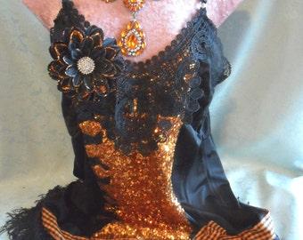 FLAPPER 1920s Halloween Fringe Gatsby - Vintage Slip Make Over - Orange and Black