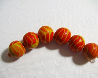 set of 6  Polymer Clay  Beads, orange/Yellow
