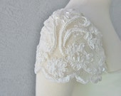 Detachable Ivory Beaded Lace Cap Sleeves to Add to your Wedding Dress it Can be Customize