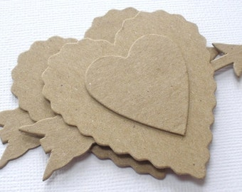 Layered Heart and Arrows  - Chipboard Die Cuts - Valentine Love Bare Embellishments