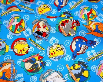 Pokemon licensed  fabric 50 cm by 106   cm or 19.6 by 42  inches Half meter Printed in Japan ©nintendo ©pokemon