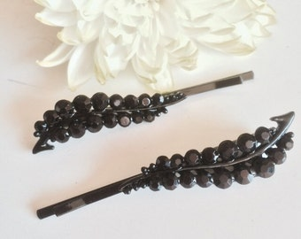 RHINESTONE  HAIR barette / 2 pieces , Gunpowder Black Crystal  / 52