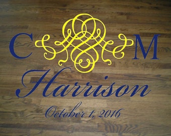 Wedding Floor/Wall Decal Script Bride and Groom Monogram and Last Name with Wedding Date