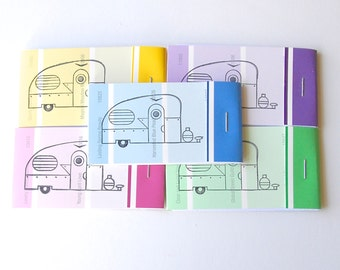 PAINT CHIP MATCHBOOK notepads Set of 5- Vintage Camper in brights