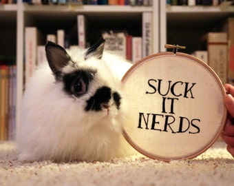 Suck it Nerds/ Liz Lemon / 6 inch hoop embroidery art