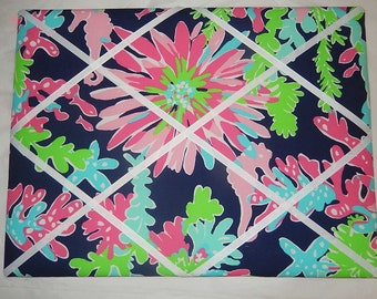 New memo board made with Lilly Pulitzer 2015 Sippin and Trippin by Garnet Hill fabric