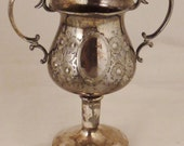 ANTIQUE GOBLET Silver Plate Married pieces  hANDCRAFTED Floral engraving  designs  app 7X6X3 in