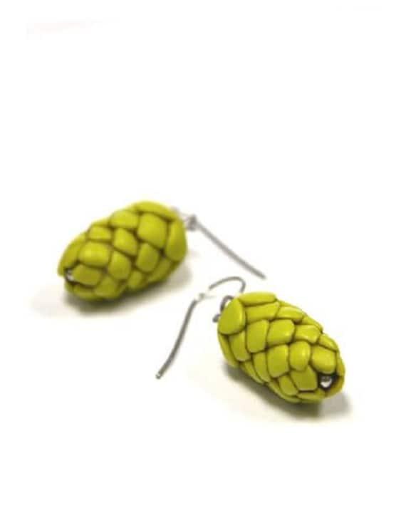 The ORIGINAL Beer Hops Earrings - Beer Gear - Beer Diva Beer Jewelry - Hop Jewelry - Beer Geek Gift