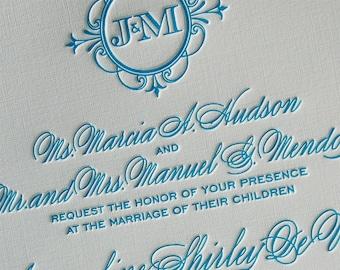 Letterpress Wedding Invitation sample, Wedding invitation, Monogram wedding invitation, Classic wedding invitations, Wedding invitations