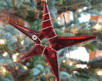 Deep Red Star Ornament With Silver Wire Wrap  Home Decor, Garden Art, Fused Glass Art