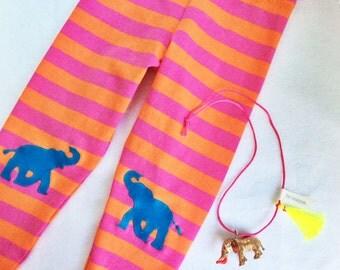 Elephant Leggings. Toddler Leggings. Girls Leggings. Kids Leggings. Elephant Pants. Orange and Pink Leggings. Striped Leggings. Girls Tights