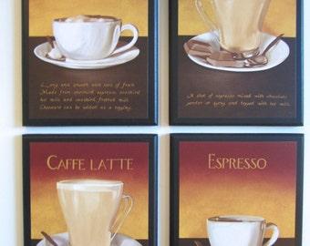 Coffee Lovers Kitchen Wall Decor Plaques Mocha Espresso Cappuccino Latte - 4 pc