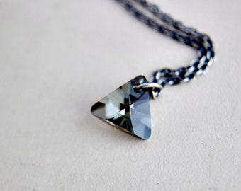 Triangle Necklace, Crystal Triangle, Triangle Pendant, Swarovski Triangle, Dark Crystal, Prism Pendan, Sterling Silver, Geometric Pendant