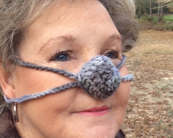 Shades of Gray Nose Warmer, Cold Nose Cover, Outdoor Sports, Crochet, Teen, Tween, Woman, Man, Unisex, Sleep with Warm Nose, vegan