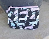 Dog Poopie Pouch Coin Purse - Pink & Blue Dachshunds
